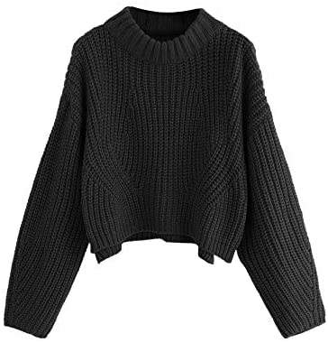 Women's Mock Neck Drop Shoulder Oversized Batwing Sleeve Crop Top Sweater