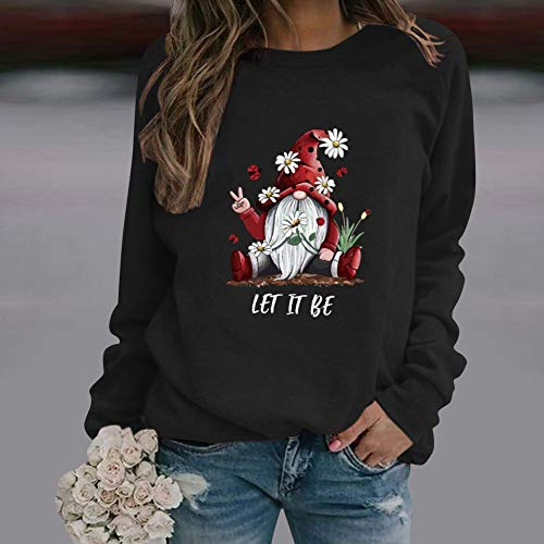 Daisy Sweatshirts Novelty Round Neck Long Sleeve Casual Tops Pullover for Womens Black