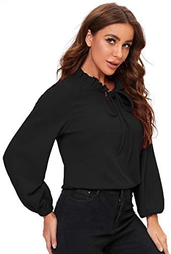 Women's Long Sleeve Front Bow Tie Ruffle Collar Elegant Blouse Shirt Tops