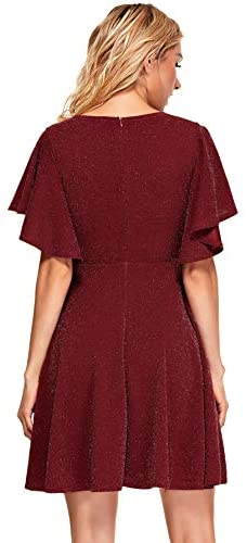 Women's Stretchy A Line Swing Flared Skater Cocktail Party Dress Burgundy Glitter XXL