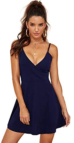 Women's V Neck Spaghetti Straps Sleeveless Sexy Backless Wrap Flare Dress Small Black