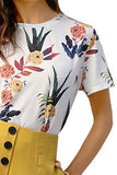 Women's Casual Round Neck Rose Floral Print Short Sleeve Summer Tee Tshirt