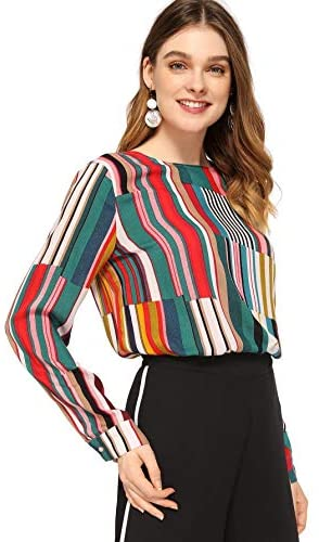 Women's Casual Long Sleeve Round Neck Tops Mixed Striped Blouse