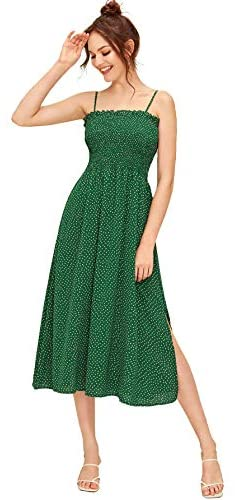 Women's Sleeveless Straps Shirred Polka Dot Ruffle Flare A Line Midi Dress