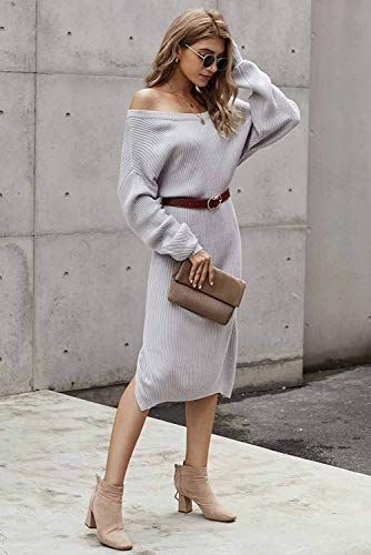Alaster Women's Casual Sweater Midi Dress Long Sleeve Backless Loose Ribbed Grey Knit Sweater Dress for Women