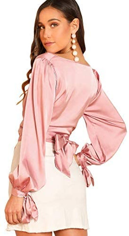 Women's Elegant V Neck Self Tie Knot Long Sleeve Satin Blouse Shirt Top