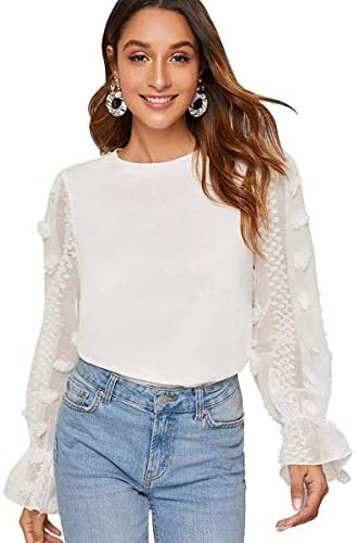 Women's Casaul Mesh Long Sleeve Round Neck Solid Blouse Top Tee