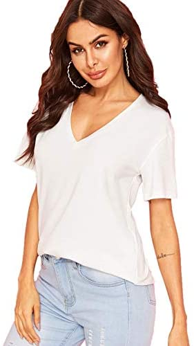 Women's Summer Teen Basic V Neck Short Sleeve Loose Casual Tee T-Shirt Top
