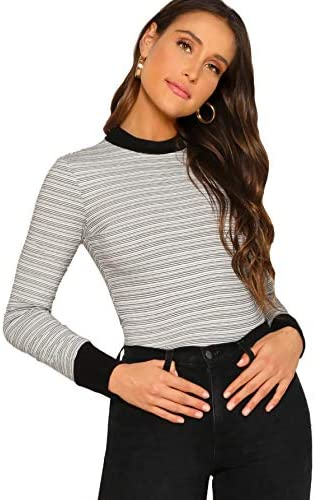 Women's Casual Mock Neck Striped Tee Tops Long Sleeve Slim Fit T-Shirts