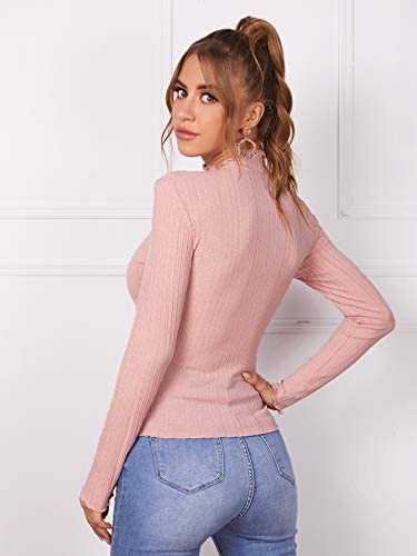 Women's Frill Trim Mock Neck Long Sleeve T-Shirt Solid Ribbed-Knit Tee Tops