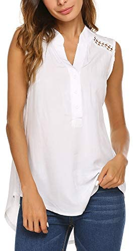 Women's Casual Summer Long Blouse Tops Sleeveless Shirt
