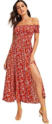 Women's Ditsy Floral Print Split Off Shoulder Thigh Shirred Maxi Dress