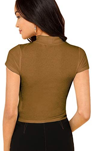 Women's Mock Neck Short Sleeve Slim Fit Knit Crop T-Shirts