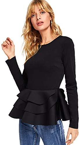 Women's Vintage Layered Ruffle Hem Slim Fit Round Neck Peplum Blouse