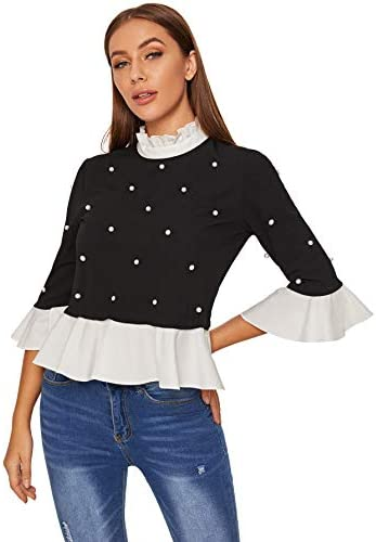 Women's Cute Long Sleeve Ruffle Hem Sweatshirt Contrast Collar Top