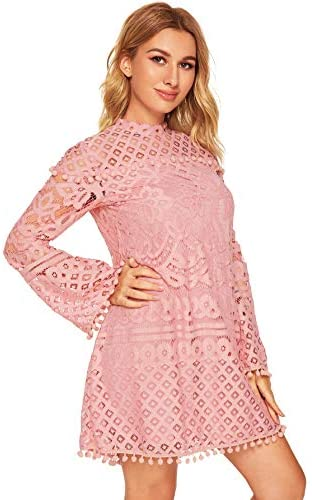 Women's Crochet Pom-pom Sheer Lace Bell Sleeve Dress