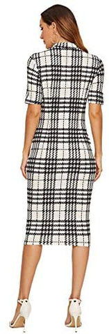 Women's Short Sleeve Plaid Grid Round Neck Elegant Sheath Pencil Bodycon Dress