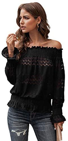 Women's Off Shoulder Flounce Long Sleeve Blouse Frill Trim Loose Shirt Peplum Top