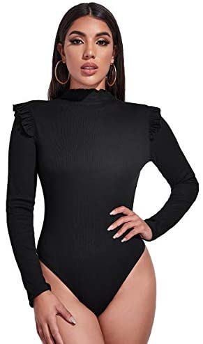 Women's Ribbed Knit Long Sleeve Mock Neck Stretch T Shirt Bodysuit Jumpsuit