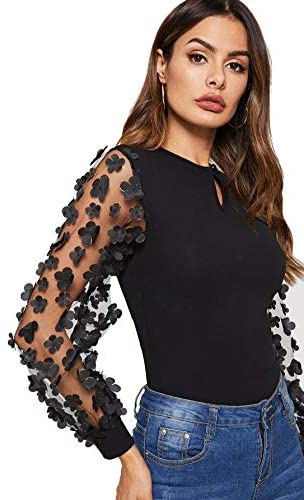 Mesh Long Sleeve 3D Embroidered Floral Blouse