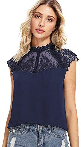 Women's Elegant Lace Neck Short Sleeve Casual Chiffon Blouse Top