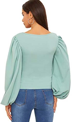 Women's Long Puff Sleeve Square Neck Slim Fit Crop Tops Blouse Sweatshirt New Green
