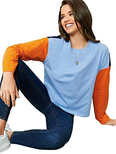 Women's Casual T-Shirt Color Block Drop Shoulder Long Sleeve Blouses Tops
