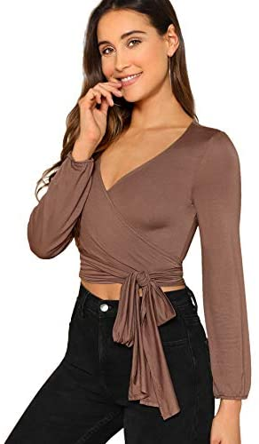 Women's Deep V Neck Knot Front Long Sleeve Wrap Crop Top Tee T-Shirt