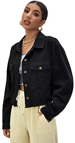 Women's Basic Long Sleeve Button Down Ripped Denim Jacket Outerwear