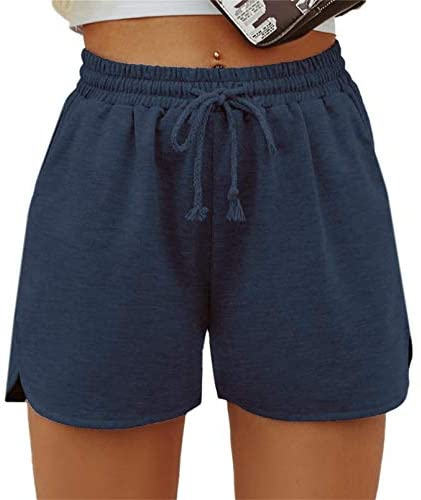 Women's Solid Stretchy Drawstring Waist Track Shorts