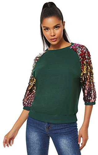 Women's 3/4 Sequin Flare Sleeve Crew Neck Fashion Pullovers Sweatshirt