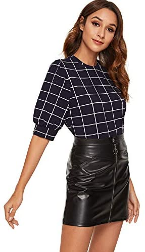 Women's Puff Sleeve Plaid Work Blouse High Neck Office Top