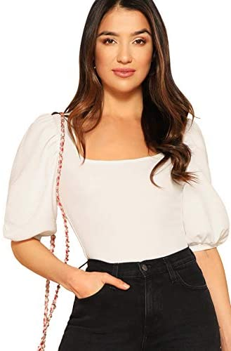Women's Casual Puff Sleeve Square Neck Slim Fit Crop Tee Tops
