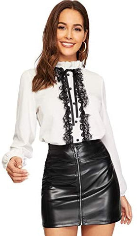 Women's Elegant Tied Lace Panel Frill Neck Blouse Long Sleeve Top Blouse