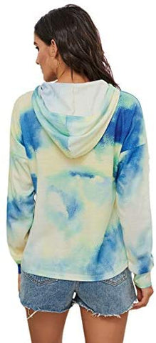 Women's Tie Dye Shirts Long Sleeve Drawstring Hooides Sweatshirt Pullover Multicolor
