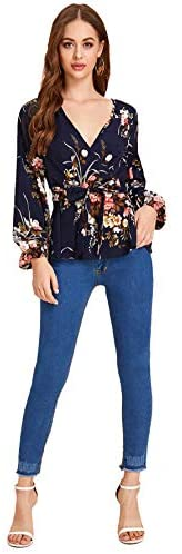Women's V-Neck Floral Long Sleeve Belted Peplum Wrap Blouse Ruffle Top Shirts