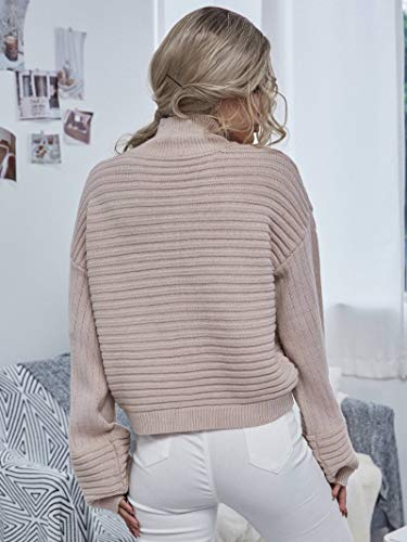 MakeMeChic Women's Solid High Neck Drop Shoulder Textured Pullover Sweater Apricot L