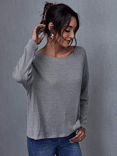 Women's Casual Ribbed Knit Tops Long Sleeve Tie Knot Back Loose T Shirts Tee