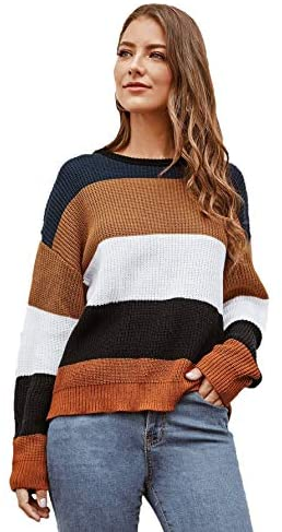 Women's Long Sleeve Pullovers Tie Back Color-Block Striped Sweater