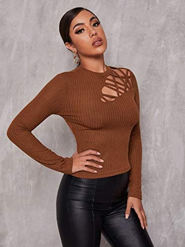 Women's Ribbed Knit Long Sleeve Mock Neck Cutout Stretchy Slim Fit T Shirts Tops Tee