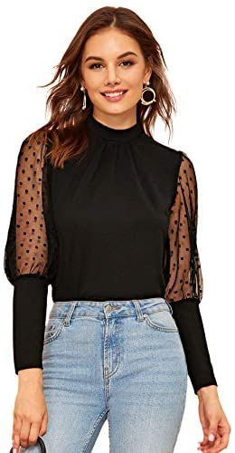 Women's Mesh Sheer Polka Dot Sleeve Blouse Long See Through Top