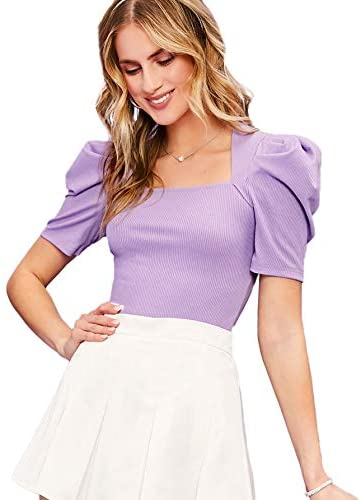 Women's Elegant Puff Short Sleeve Square Neck Solid Slim Fit Blouse Tops Tee