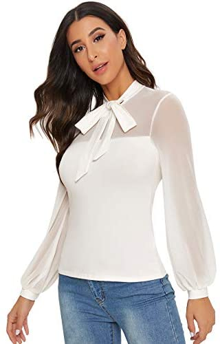 Women's Tie Neck Sheer Contrast Mesh Long Sleeve Sexy Blouse Top