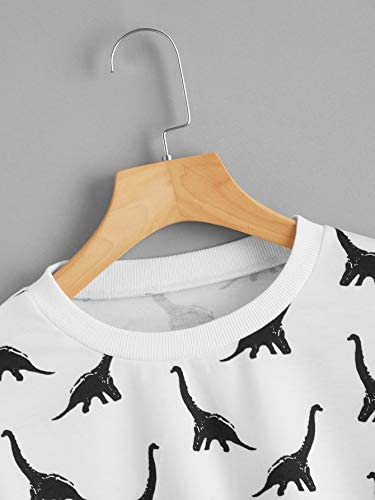 Women's Allover Dinosaur Print Long Sleeve Shirts Crewneck Raw Hem Crop Sweatshirt Pullover