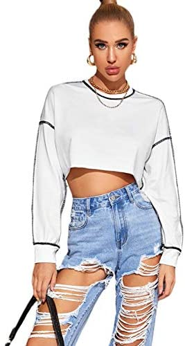 Women's Loose Contrast Stitch Long Sleeve Drop Shoulder Crop Pullover Sweatshirt