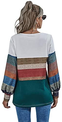 Women's Long Bishop Sleeve Round Neck Colorblock Causal Slim Cotton Pullover Blouse