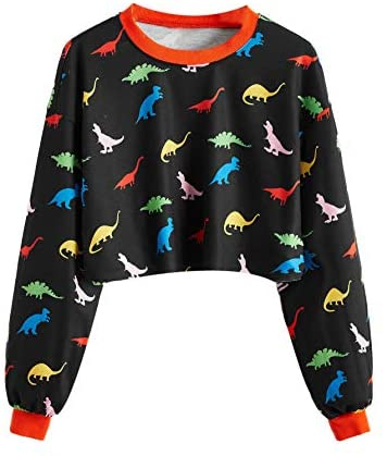 Women's Allover Animal/Plant Print Drop Shoulder Raglan Sleeve Round Neck Sweatshirt Lightweight Pullovers