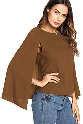 Women's Elegant Cape Cloak Sleeve Round Neck Party Top Blouse
