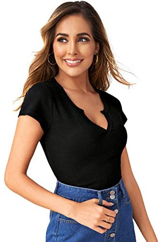 Women's Casual Cap Sleeve V Neck Rib Knit Slim Fit Solid Tee Tops T-Shirt