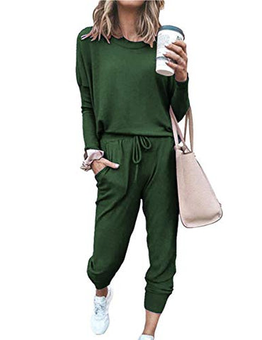 Women's Long Sleeve Loungewear Crewneck Pullover Tops Long Pants Sweatsuits Tracksuits with Pockets Army Green